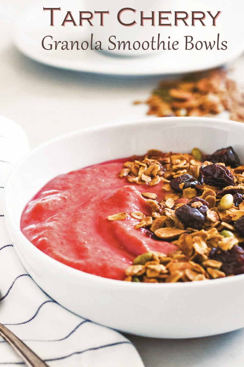 Dairy-Free Tart Cherry Smoothie Bowls with Healthy Cherry Granola Recipe (vegan, gluten-free)