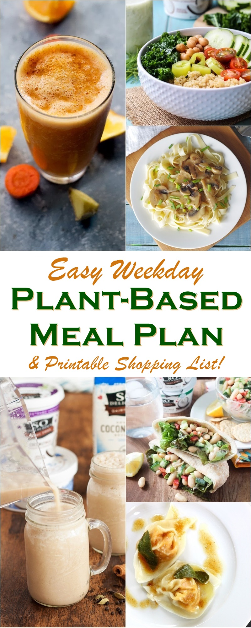 Easy weekday plant based meal plan printable shopping list easy weekday plant based meal plan new delicious dairy free and vegan recipes forumfinder Gallery