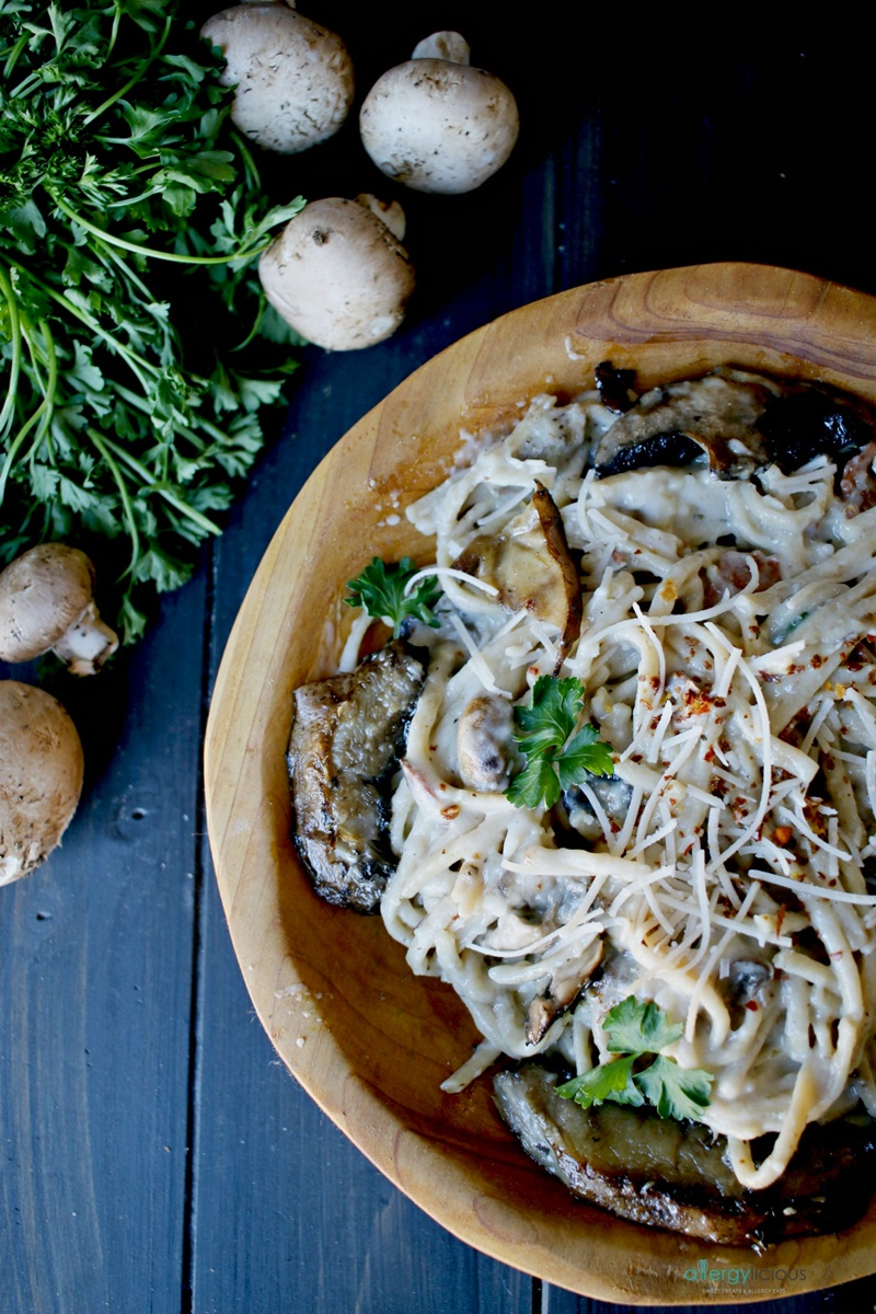 Creamy Garlic and Mushroom Pasta Recipe (dairy-free, nut-free, vegan and gluten-free optional!) - by Nicole Dawson of Allergylicious