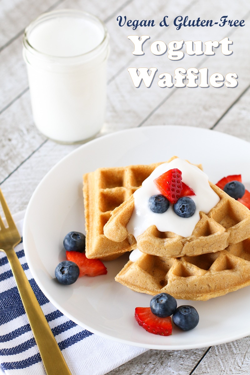 Gluten Free Vegan Yogurt Waffles Recipe by Sarah Bakes Gluten Free