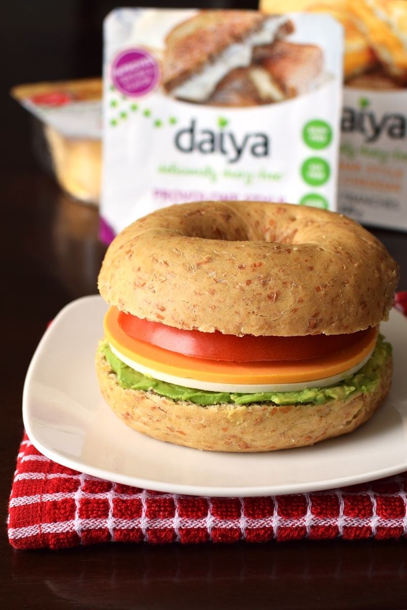 Bagel Sandwiches with Avocado, Tomato, and daiya Slices (dairyfree and vegan)