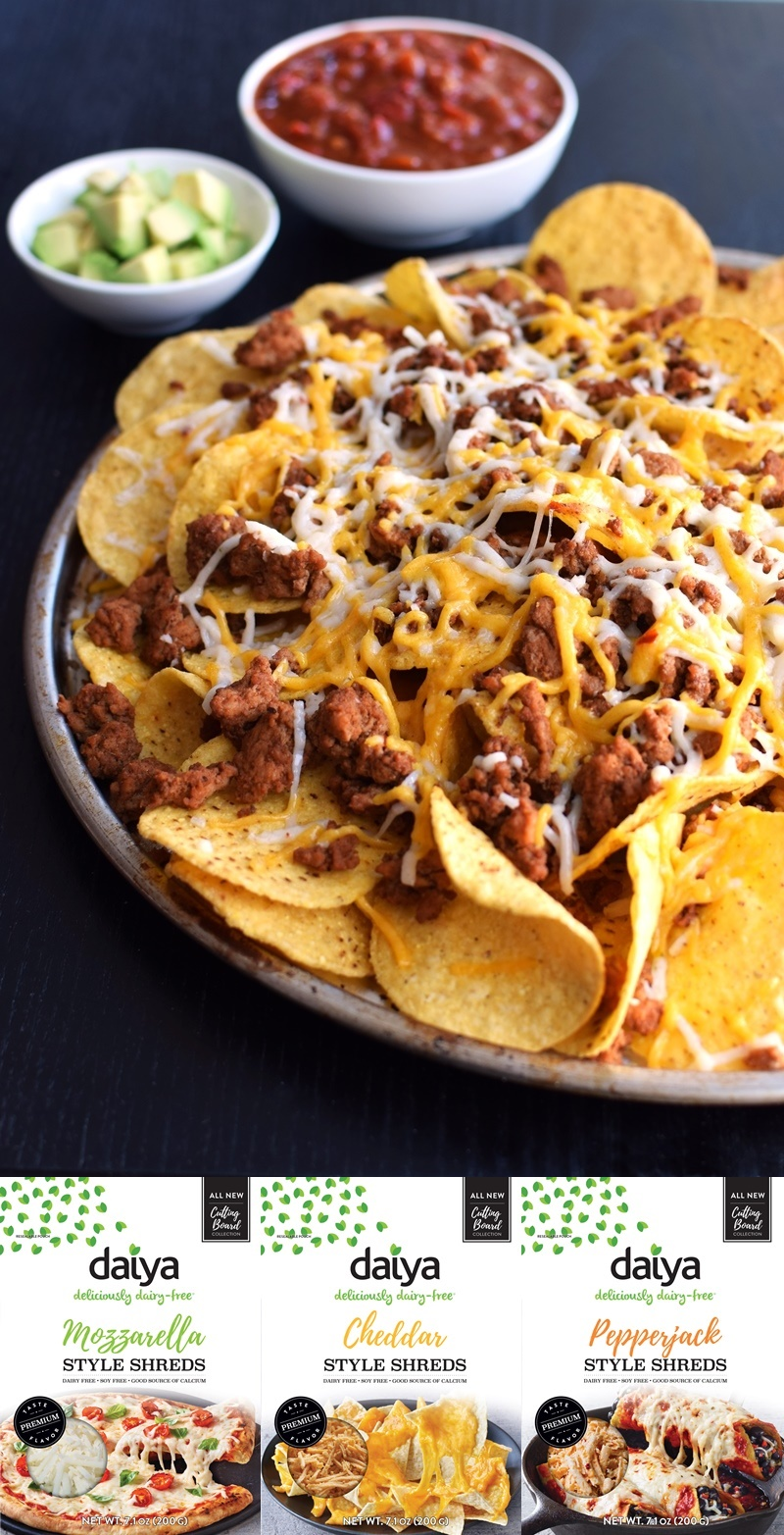 Nachos made with new Daiya Dairy Free Premium Cutting Board Shreds