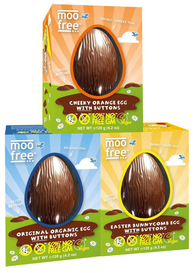 The BIG Dairy-Free Chocolate Easter Bunny and More Round-Up - Moo Free Chocolate Eggs pictured