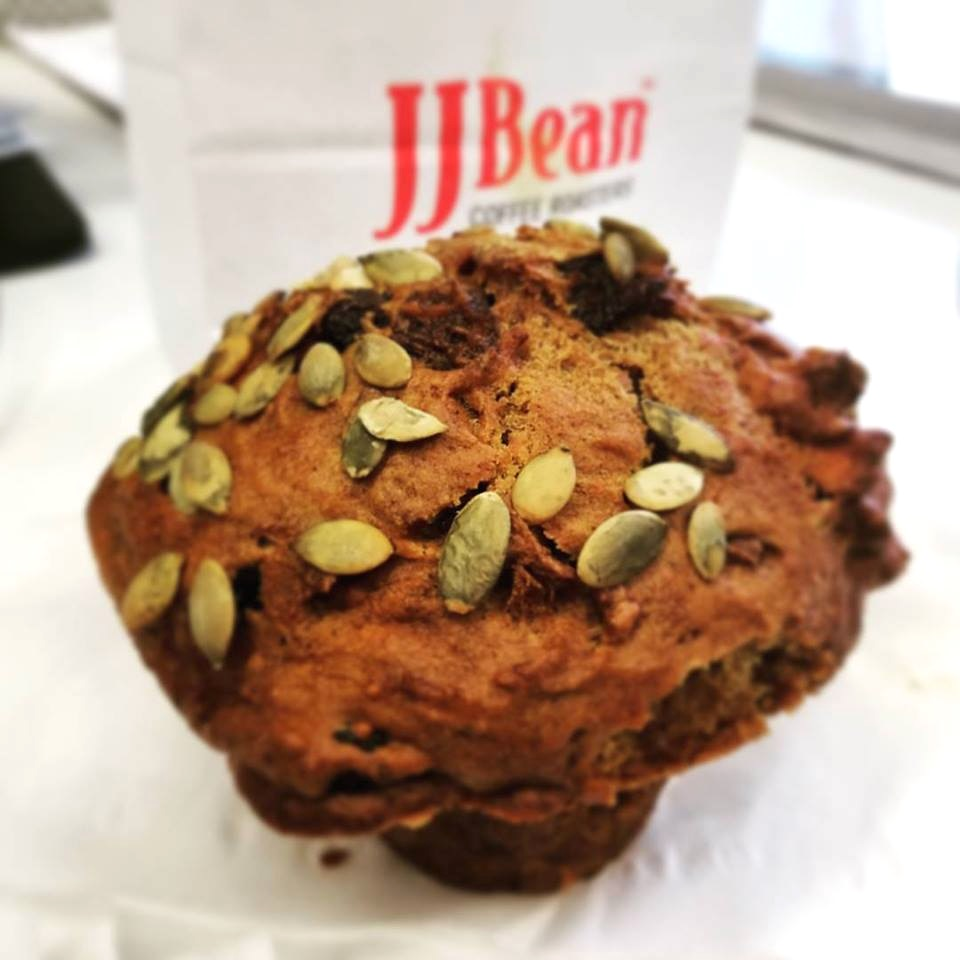 JJ Bean Coffee Roasters serves vegan muffins at locations throughout Vancouver and Toronto