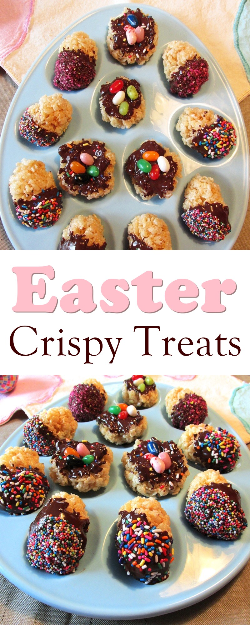 Easter Rice Crispy Treats Recipe - Chocolate-Dipped Eggs and Nests (dairy-free, gluten-free, nut-free, vegan optional)