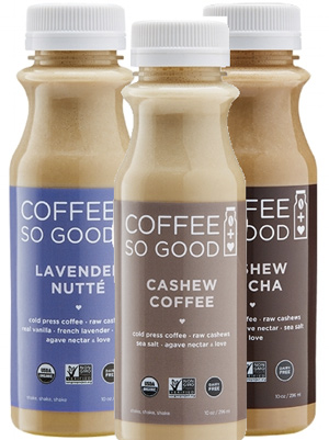 Coffee So Good - All natural, organic, non-GMO, vegan cold brew coffee made with raw cashews