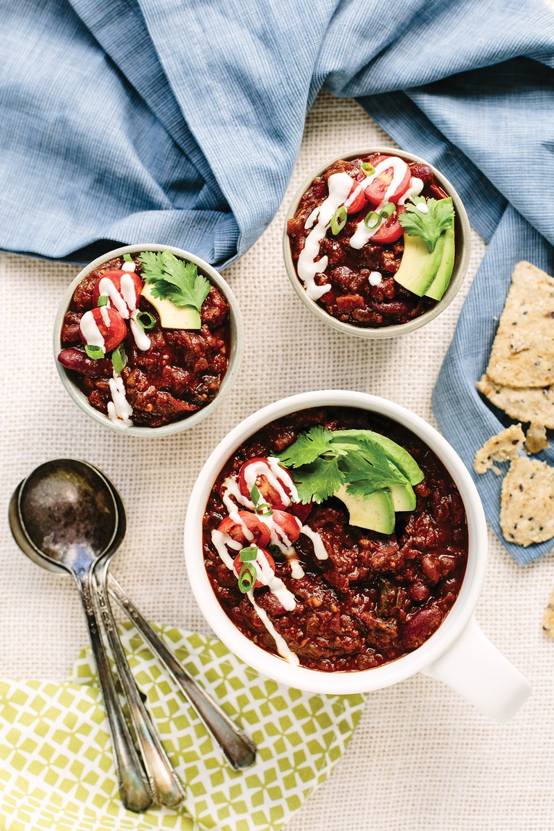 Easy Does It Sunday Night Vegan Chili Recipe from Blissful Basil (gluten-free + nut-free and soy-free options)