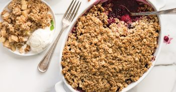 Seasonal Fruit Crisps - Spring + Summer Blackberry Sunflower Crisp Recipe and Fall + Winter Apple Almond Crisp Recipe - vegan, gluten-free, nut-free optional