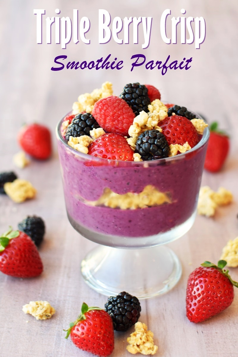 Triple Berry Crisp Smoothie Parfait Recipe - plant-based, dairy-free, single serve