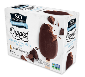 So Delicious Cashewmilk Ice Cream Bars are dairy-free decadence. Available in Dipped Double Chocolate and Dipped Salted Caramel