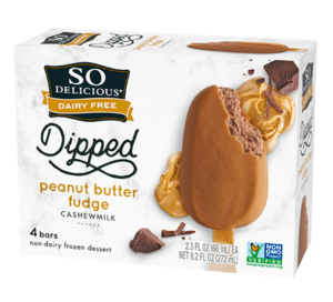 So Delicious Cashewmilk Ice Cream Bars are dairy-free decadence. Available in Dipped Double Chocolate and Dipped Peanut Butter Fudge
