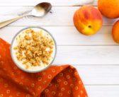 Peach Crisp Yogurt Parfait with No Bake Crumble Topping