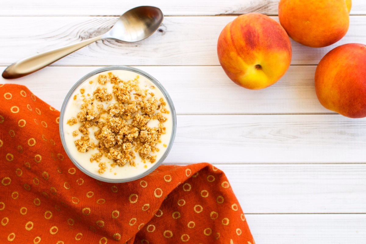 Peach Crisp Yogurt Parfait Recipe with No Bake Crumble Topping - dairy-free, gluten-free, and vegan!