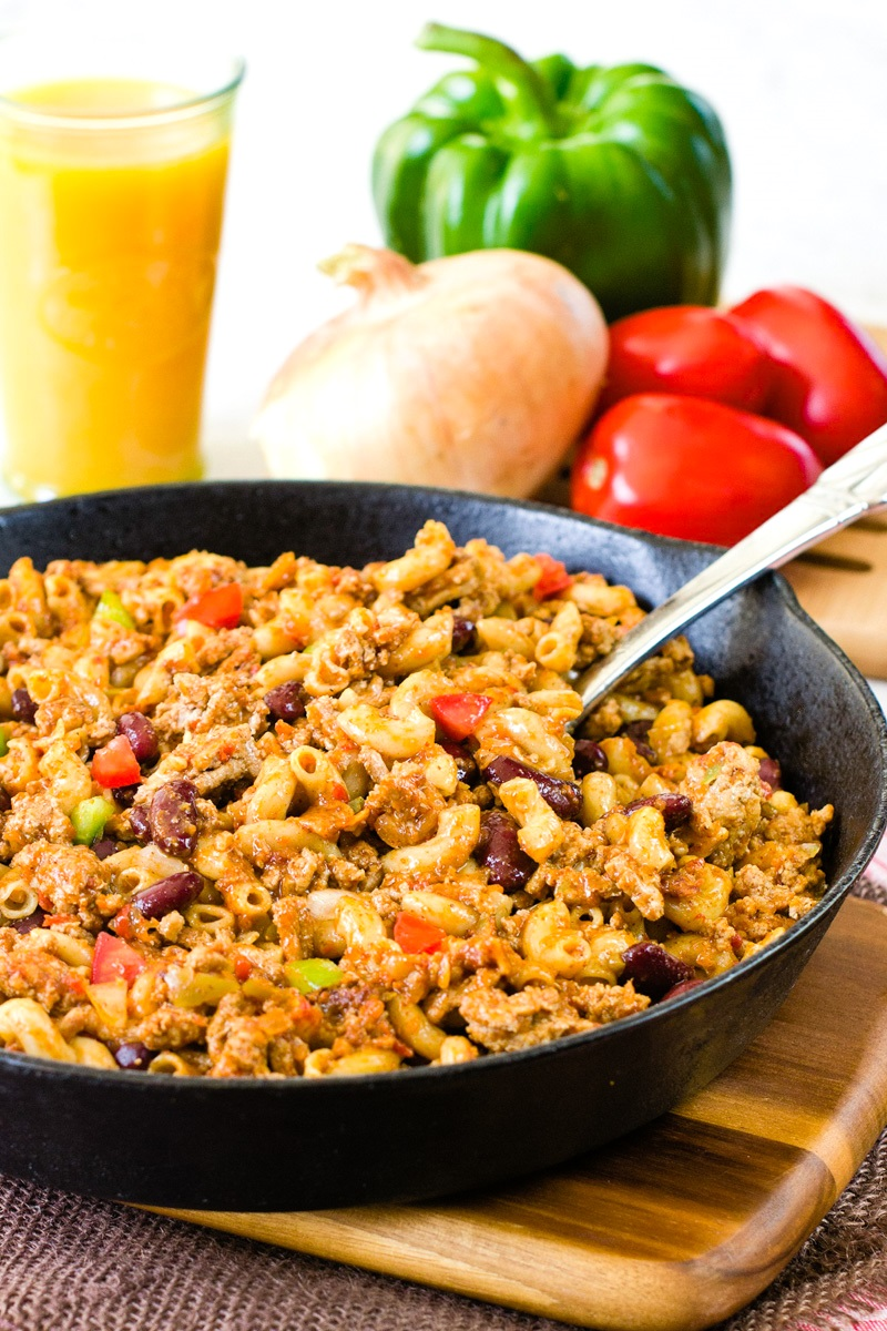 Healthy Turkey Pasta Skillet Recipe - A Weeknight Dinner that Kids Love (dairy-free, nut-free, soy-free, gluten-free option)