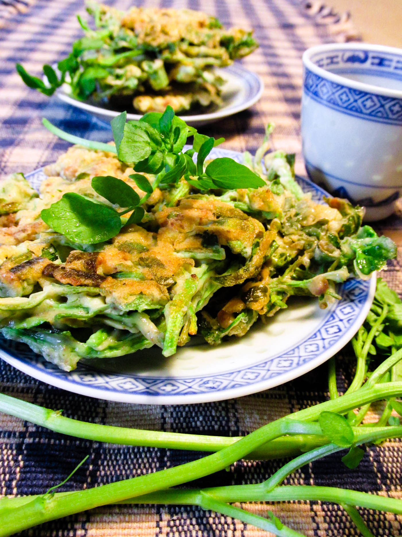 Watercress Dinner Pancakes Recipe - Kid-approved way to get greens and protein! Dairy-free, gluten-free optional
