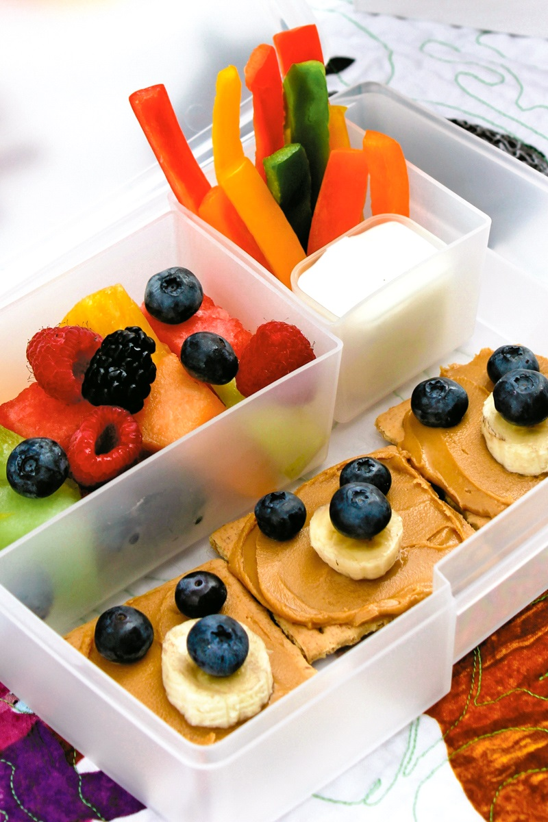 Brown Bear Bento Snack Box with Rainbow Fruit Salad for School-Time Fun
