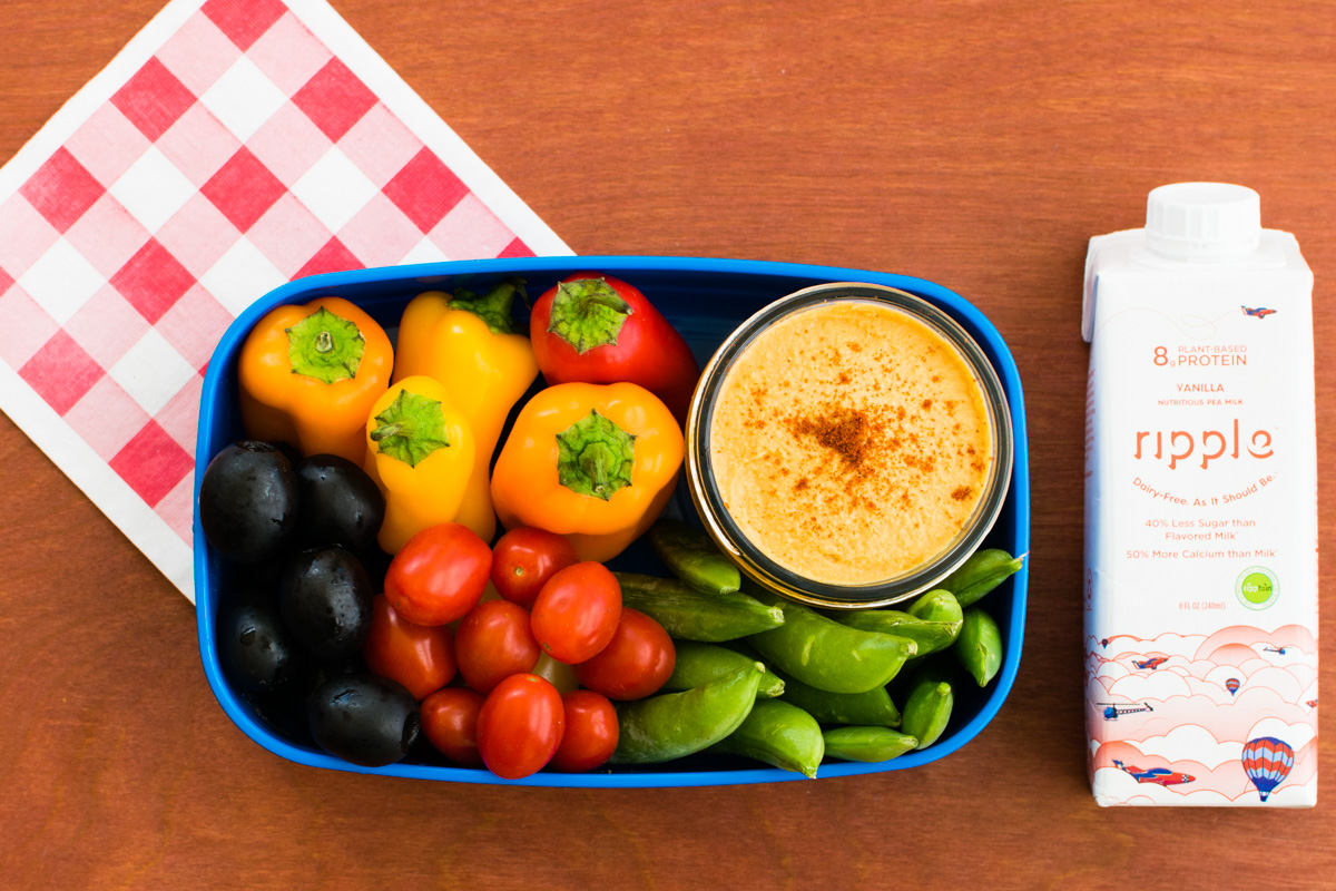 5 Super Easy Kids Lunch Ideas - School-safe, Dairy-free, Plant-based (Hummus Box pictured)