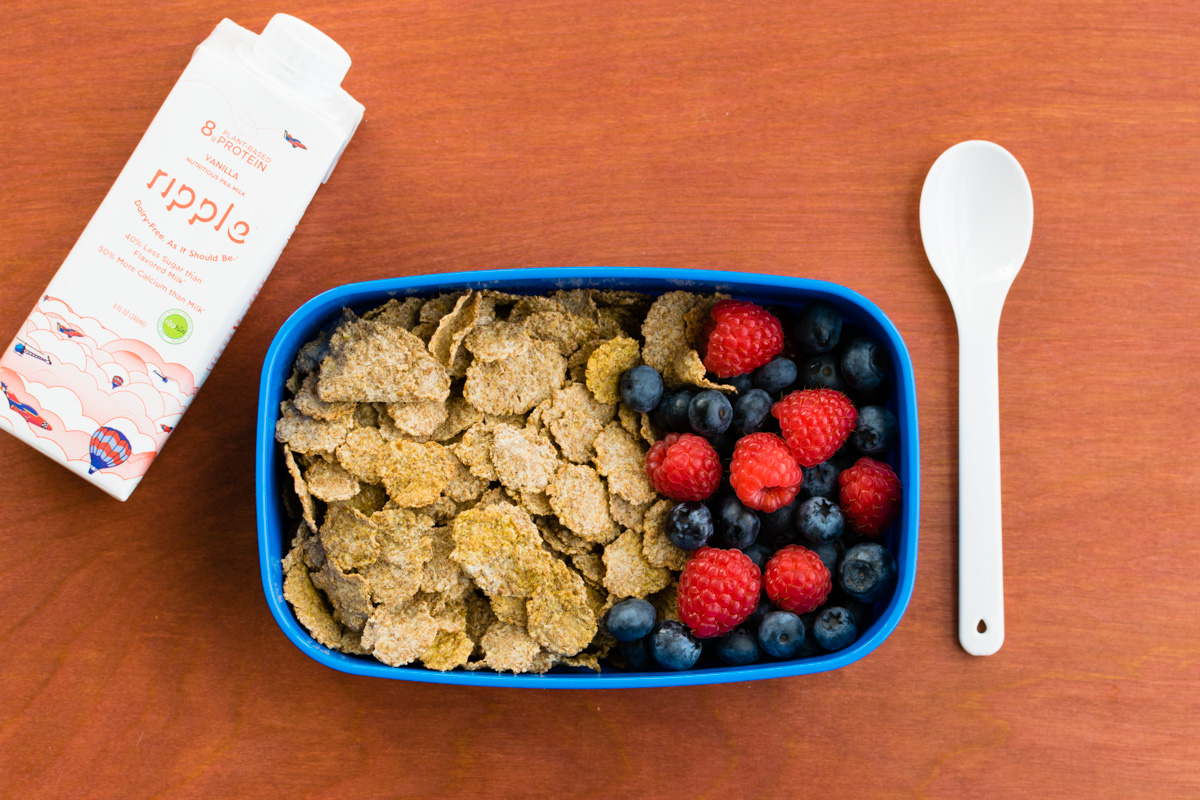 5 Super Easy Kids Lunch Ideas - School-safe, Dairy-free, Plant-based (Cereal Box pictured)