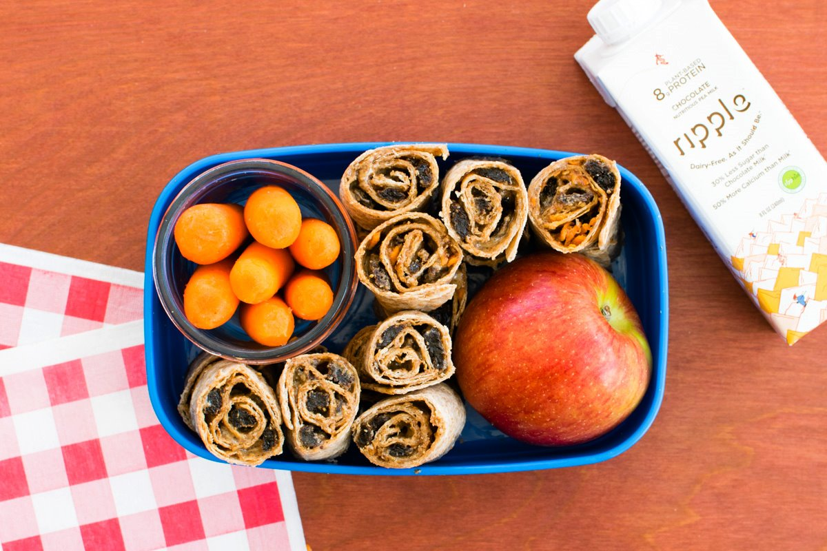 5 Super Easy Kids Lunch Ideas - School-safe, Dairy-free, Plant-based (Roll up Box pictured)