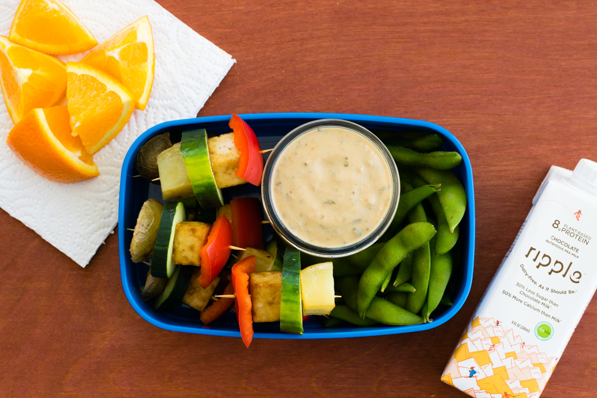 5 Super Easy Kids Lunch Ideas - School-safe, Dairy-free, Plant-based (Asian Kabob Box pictured)
