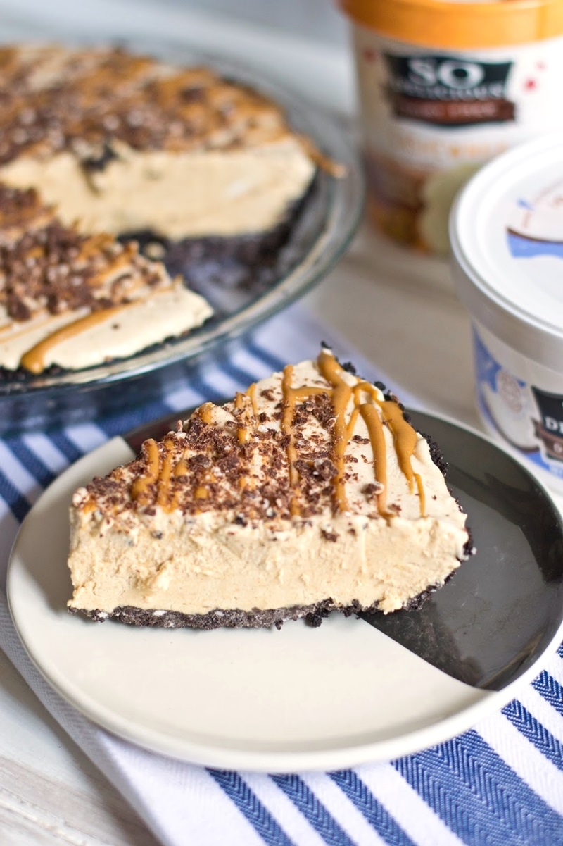 Dairy-Free Peanut Butter Ice Cream Pie with Chocolate Cookie Crust - an award-winning recipe!