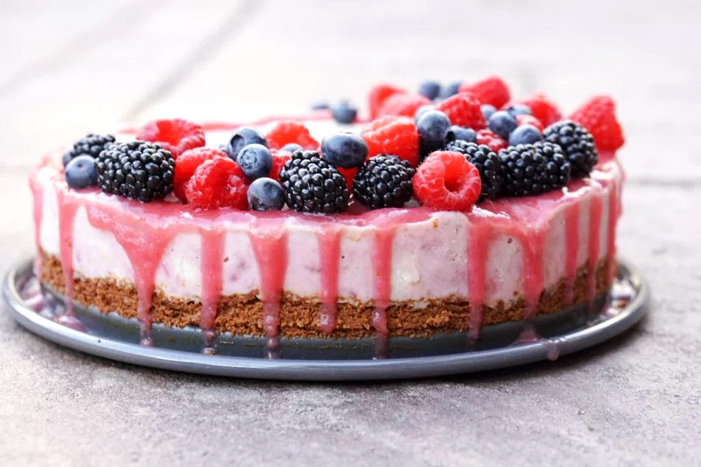 Dairy-free Rhubarb Ice Cream Cake - a contest-winning vegan frozen dessert recipe