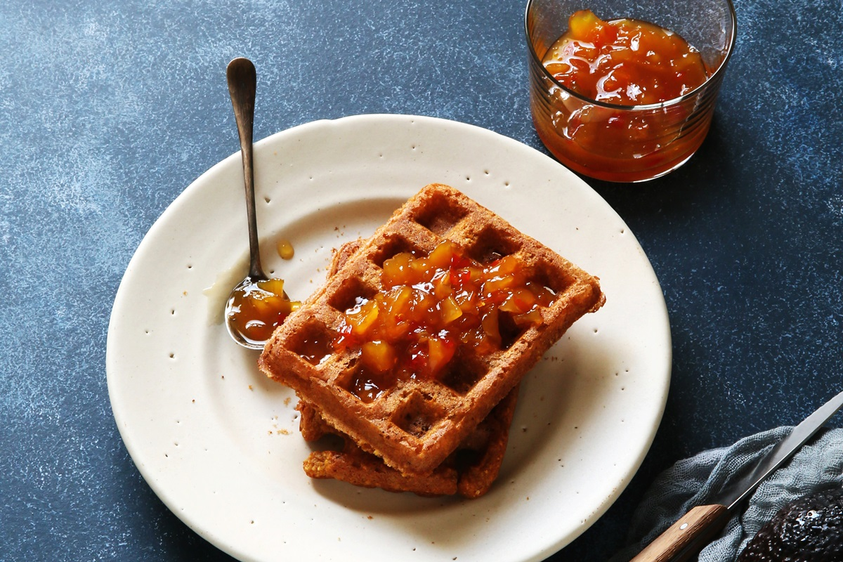 Crunchy Corn Waffles Recipe from Bold Flavored Vegan Cooking by Celine Steen