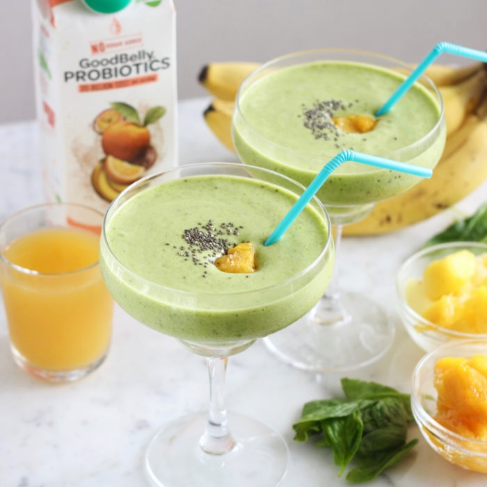 7 GoodBelly Smoothies for a Happy Tummy (pictured Tropical Green Smoothie)