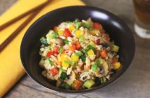 Sizzling Asian Vegetable Fried Rice with Savory White Wine Glaze