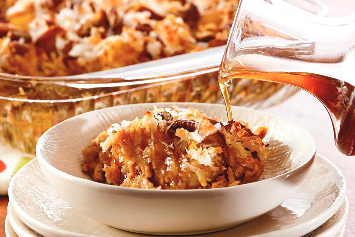 Coconut Pumpkin Bread Pudding with Spiced Maple Syrup