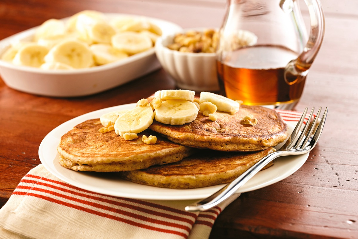 Maple Banana Bread Pancakes
