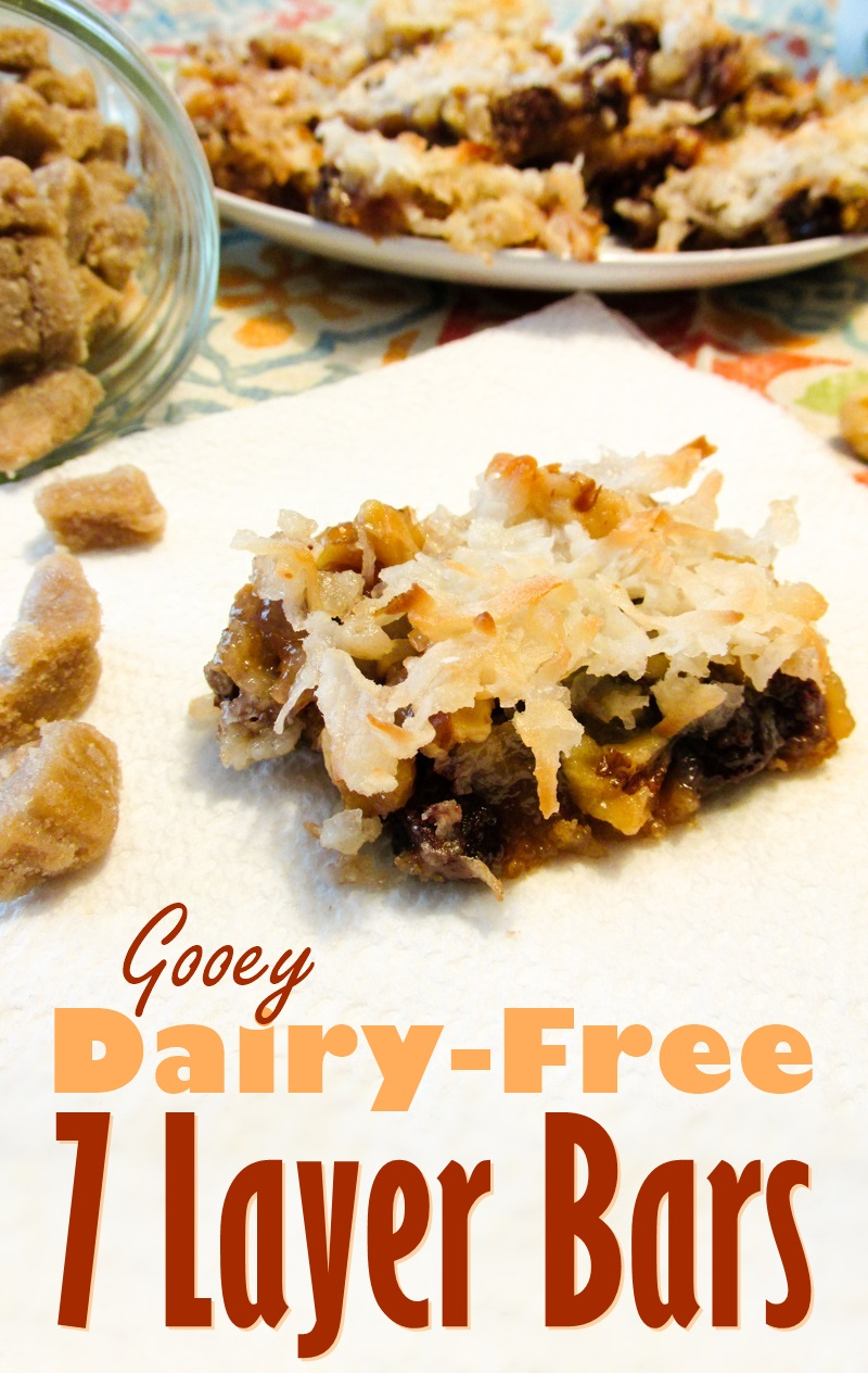 Dairy-Free Seven Layer Bars Recipe - an ooey, gooey, vegan treat with homemade butterscotch chips