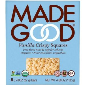 Made Good Crispy Squares are vegan, gluten-free, and allergy-friendly. School safe in four flavors: vanilla, chocolate chocolate chip, strawberry, caramel (yes, dairy-free!)