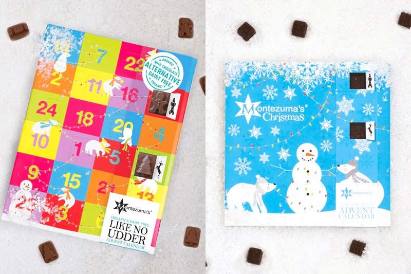 Our BIG round-up of Dairy-Free Advent Calendars. Montezuma's Organic Vegan & Dairy-Free Advent Calendars pictured