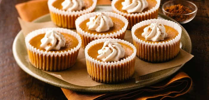 Dairy-Free Mini Pumpkin Cheesecakes with a Gingersnap Cookie Crusts
