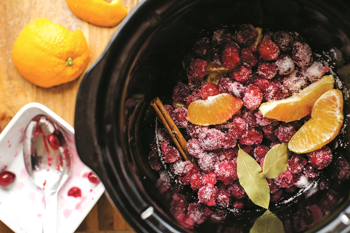 Slow Cooker Cranberry Sauce Recipe - easy, simple, vegan, and optionally paleo-friendly