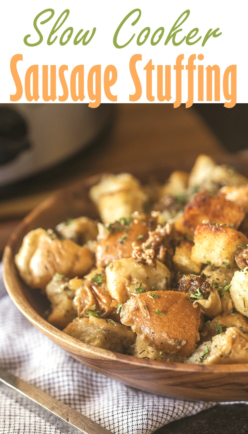 Slow Cooker Sausage Stuffing Recipe (Dairy-free w/ Options for Vegan, Gluten-free, and more)