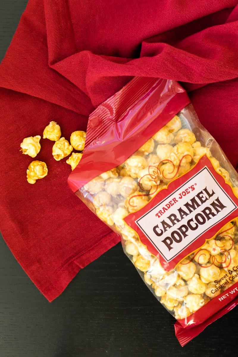 Trader Joe's Caramel Popcorn Review - a surprisingly dairy-free, gluten-free and vegan treat