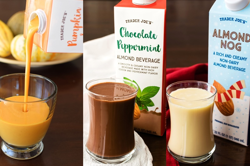 Dairy-Free Holiday Beverages (Trader Joe's Nog, Pumpkin, and Chocolate Peppermint Almond Milks pictured)