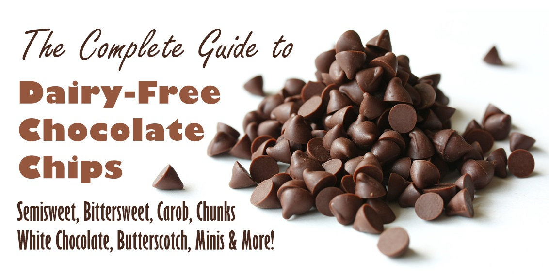 The Complete Guide to Dairy-Free Chocolate Chips - semisweet, bittersweet, butterscotch, white chocolate, minis, chunks and more! Ingredients, cross-contamination warnings, etc. Vegan, gluten-free + soy-free options.