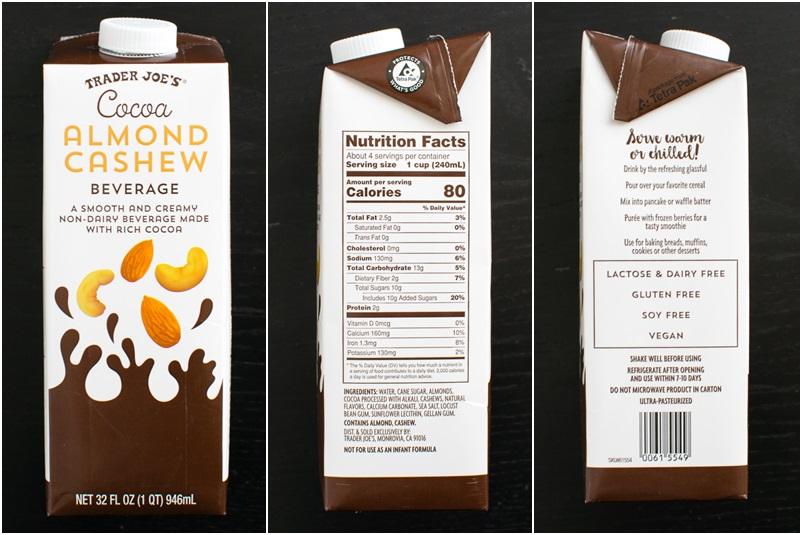 Trader Joe's Non-Dairy Milk Beverages (Review, Ingredients and More Info) - Cocoa Almond Cashew Beverage pictured