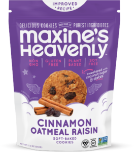 Maxine's Heavenly Snack Cookies Reviews and Info. Dairy-Free, Gluten-Free, and Vegan. Pictured: Cinnamon Oatmeal Raisin