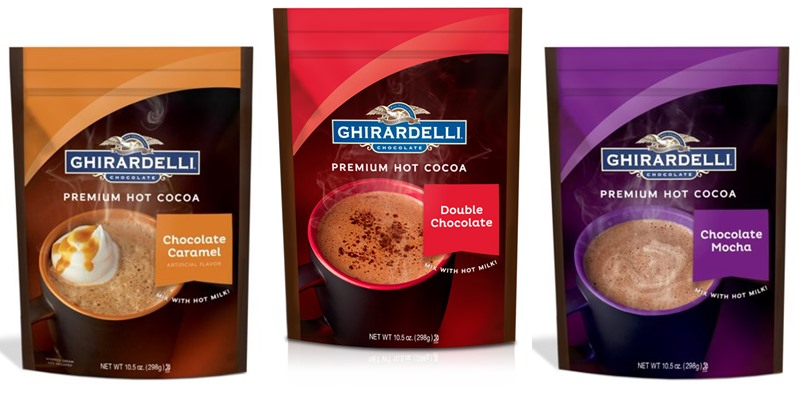 Dairy-Free Hot Chocolate Guide with Hot Cocoa Brands and Recipes - Vegan-Friendly with Allergy-Friendly, Soy-Free, Sugar-Free, Refined Sugar-Free, Paleo, and Keto Options. Pictured: Ghirardelli Premium Hot Cocoa Mixes