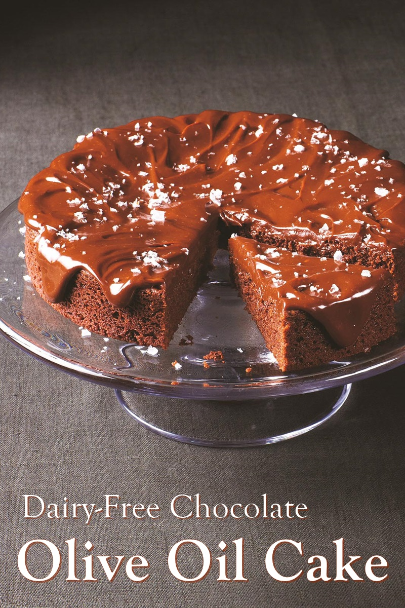 Dairy-Free Chocolate Olive Oil Cake Recipe with Chocolate Ganache - also nut-free with egg-free and vegan option