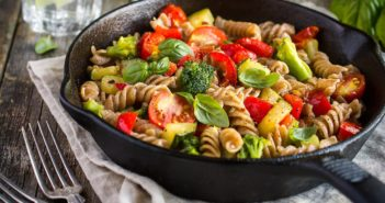 Healthy Plant-Based Pasta Salad Recipe with Fresh Tomatoes and Basil
