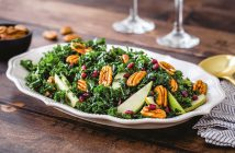 Massaged Kale Winter Salad Recipe with Pomegranate, Pears & Pecans - dairy-free, gluten-free, allergy-friendly (nut-free option), paleo, vegan, and Whole30