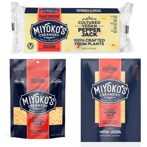 Miyoko's Cultured Vegan Cheese Slices, Shreds, and Blocks information and reviews - dairy-free, nut-free, and made with oat milk!