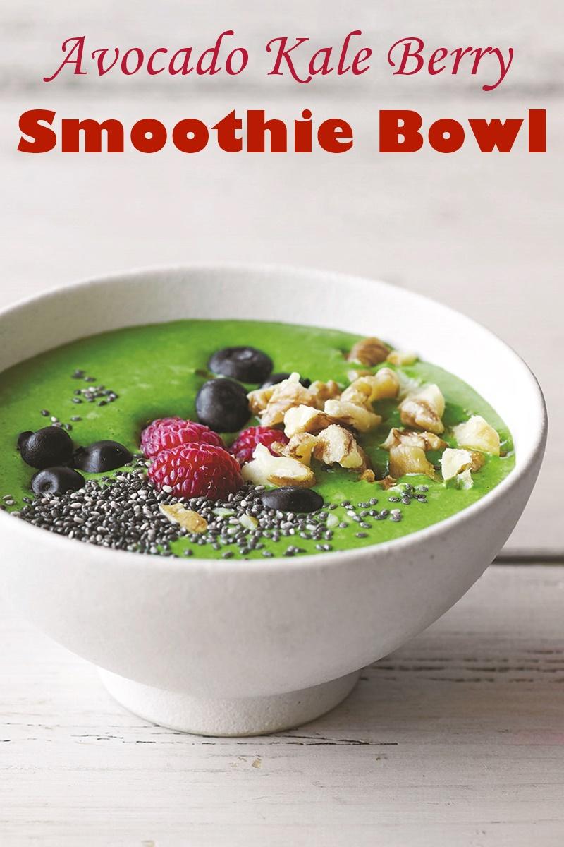 Avocado Kale Berry Smoothie Bowl Recipe (dairy-free & plant-based version)