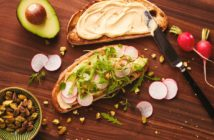 Healthy Hummus Toast Recipe - savory, dairy-free, vegan and packed with super foods