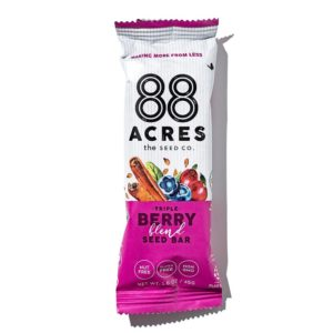 88 Acres Bars Reviews and Info - Vegan, Gluten-Free, and Top Allergen Free, made with real ingredients. Pictured: Triple Berry